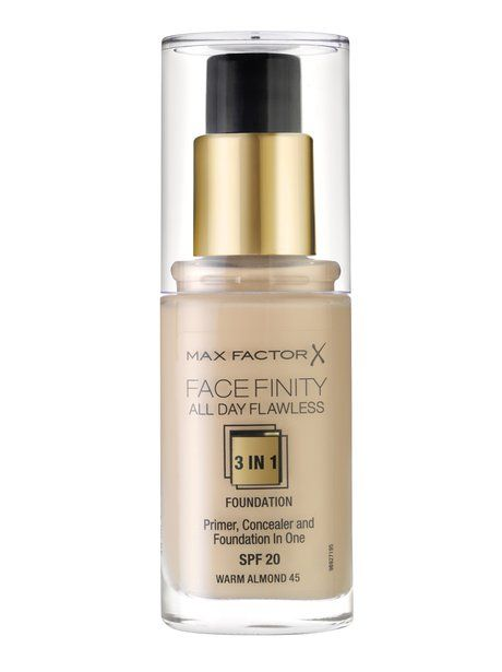 Max Factor All Day Flawless Foundation has an in-built primer and concealer so you get 3 products for the price of 1, result!