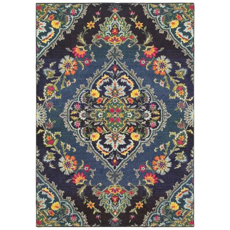 Navy Blue Area Rug 9 x 12 ft Polypropylene Tufted Rectangle Machine Made Carpet