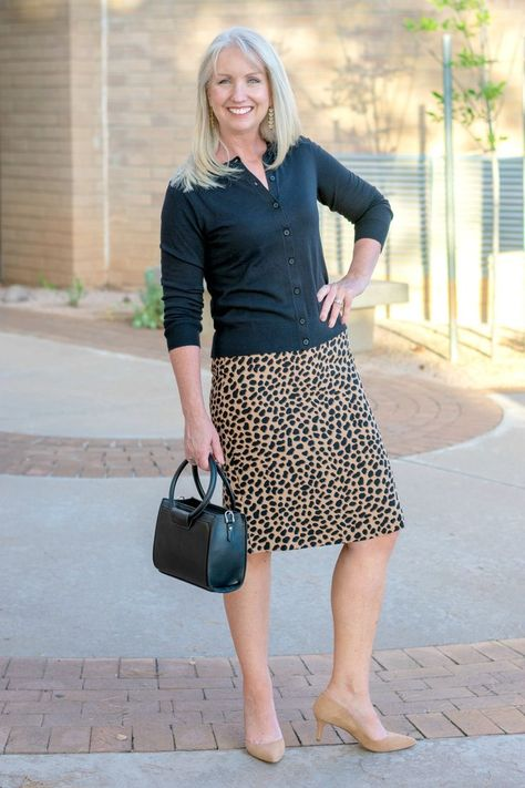Cheetah Print Skirt and Cardigan are perfect for work fashion for women over 40. Also a great work to evening fashion.