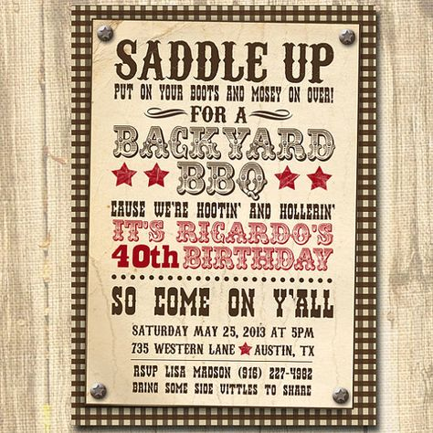 Printable BBQ backyard birthday party invite Western cowboy - bbq invitation template