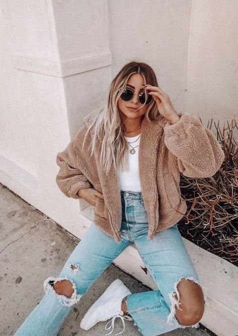 Trendy Fall Outfits, Winter Fashion Outfits, Trendy Fashion, Stylish Outfits, Fashion Fashion, Cute Casual Outfits For Teens, Cute Jean Outfits, Cute Clothes For Teens, Winter School Outfits