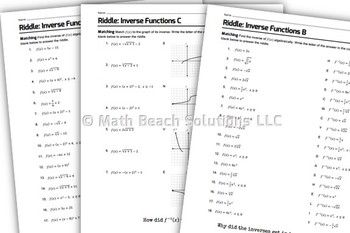 Inverse Functions Riddle Activity Inverse Functions Algebra Activities Algebra 2 Worksheets