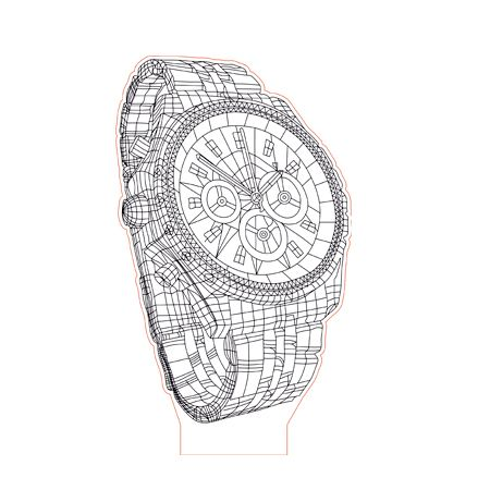 Wrist Watch 3d Illusion Lamp Plan Vector File For Laser And Cnc 3bee Studio 3d Illusion Lamp Illusions 3d Illusions