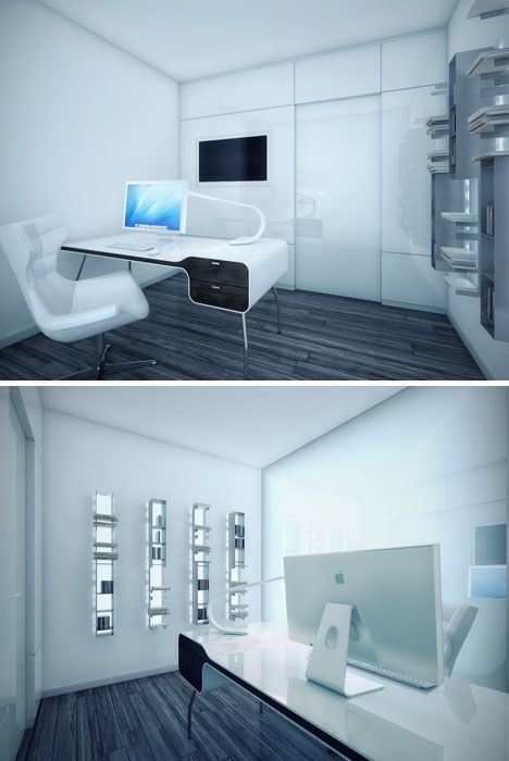 Futuristic Office Interior Design, Minimalist Dream House: Black, White U0026  Awesome All Over, Futuristic Interior Design, Workspace, Modern Home, Futu2026