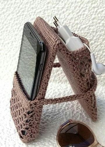 entrega gratis en pies imágenes de nuevos especiales Originales bolsitas a crochet para celular en 6 colores | Móvil de ...