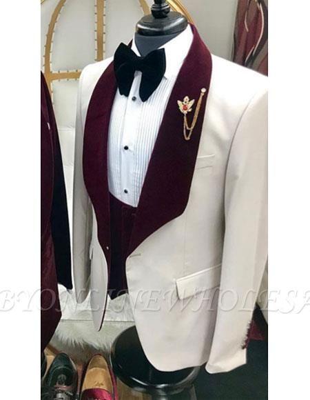 27f1f5bafda2a1 White And Burgundy Wine Maroon Color Velvet Lapel Vested Tuxedo Suit Shawl  Collar | www.babyonlinewholesale.com