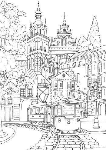 Pin By Coloring Pages For Adults On Coloring Pages Detailed Coloring Pages Coloring Pages Winter Fantastic Cities Coloring Book