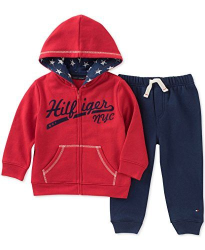 Tommy Hilfiger Baby Boy S 2 Piece Hoodie Jogger Pants Set Red