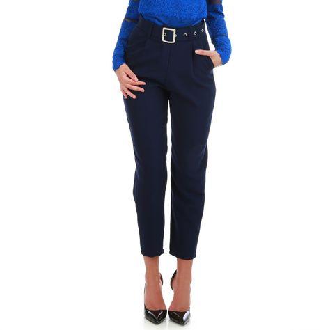 677918c917c Pantalon carotte bleu taille haute à ceinture femme pas cher la modeuse
