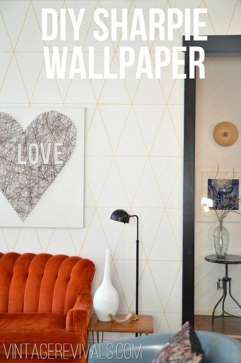 DIY Sharpie Wallpaper @ Vintage Revivals. water-based PAINT Sharpies.