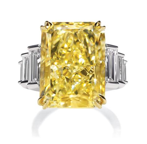 Harry Winston 2012 -incredible radiant-cut yellow diamond ring