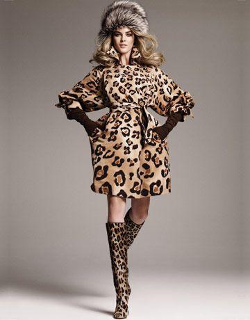Leopard print coat and boots.
