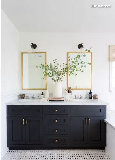 Gold Framed Mirrors Chrome Faucets And Brass Tone Cabinet