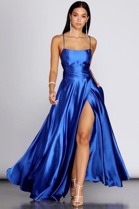 Elegant Dresses For Women, Semi Formal Dresses, Strapless Dress Formal, Formal Dress Patterns, Satin Formal Dress, Pretty Prom Dresses, Homecoming Dresses, Cute Dresses, Prom Gowns