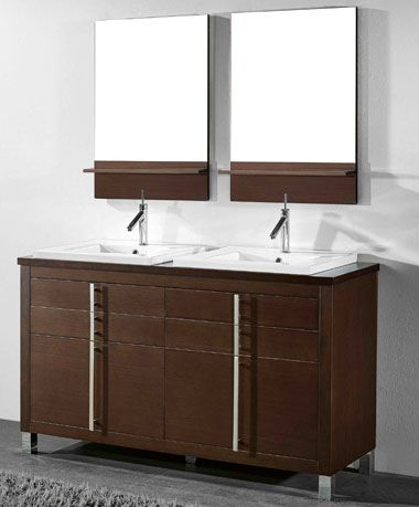 Images On Adornus Turin inch Walnut Double Sink Bathroom Vanity Free standing all wood cabinet available in a smooth walnut veneer and white high gloss enamel