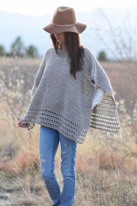 Alpaca Easy Crocheted Poncho Pattern Taupe Poncho Pattern | Etsy