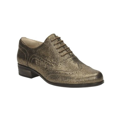 Details about Clarks Hamble Oak Gold Metallic Leather