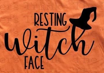 Resting Witch Face Halloween Iron On Decal