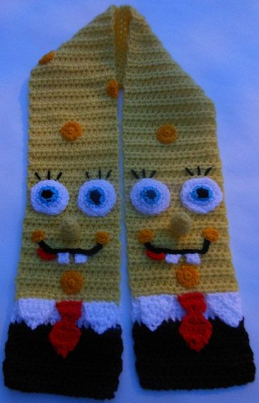 Crochet Pattern Spongebob Scarf Character Scarf Animal Scarf Novelty ...