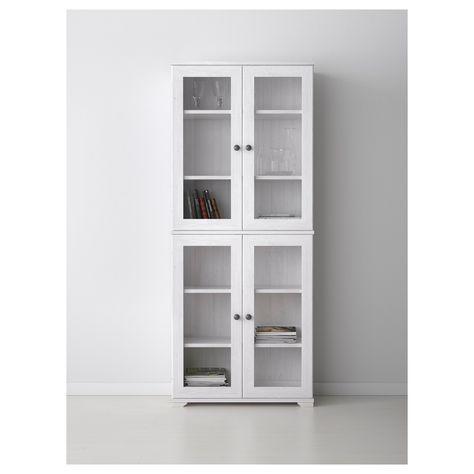 BORGSJÖ Glass-door cabinet - white - IKEA