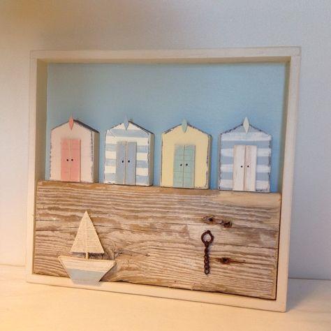 Beach huts in a box. #beachhut #seaside #boat #driftwood #nautical #handmade #shabbychic