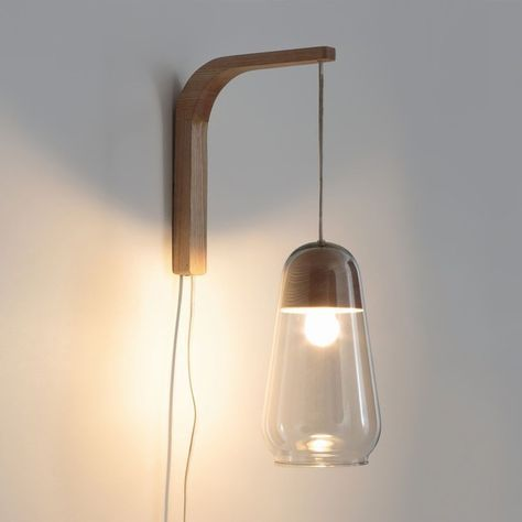 Glass And Wood Wall Lamp Nasoa Glass Nasoa Bedroom