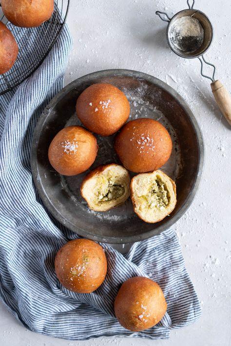 Basil Pesto and Feta Stuffed Savoury Brioche Doughnuts