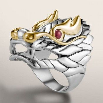 01c1e820974c7 Naga Gold & Silver Lava Dragon Ring with Black and White Sapphire ...