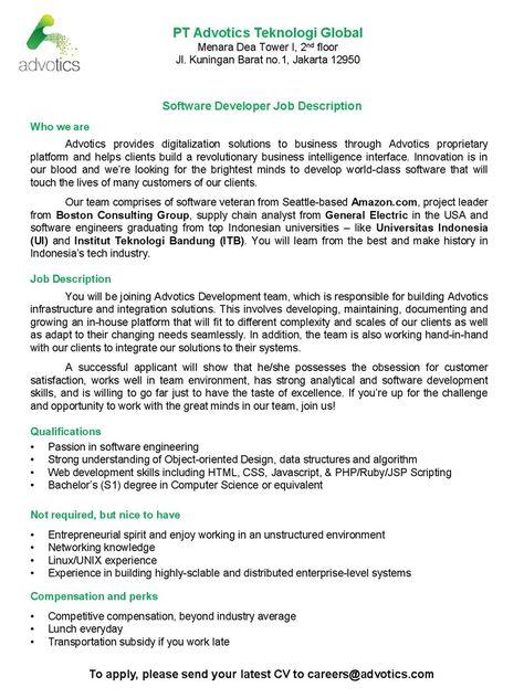 OPEN! #vacancy as Software Developer from Advotics Teknologi - software engineer job description