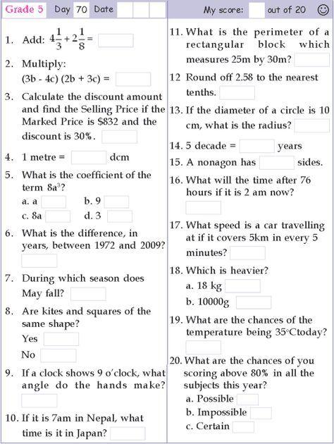 Mental Math Grade 5 Day 70 Math Pages Studying Math Mental Maths Worksheets