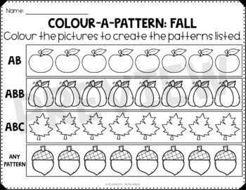 Fall Color A Pattern Worksheets Freebie Pattern Worksheet Math Patterns Pattern Worksheets For Kindergarten
