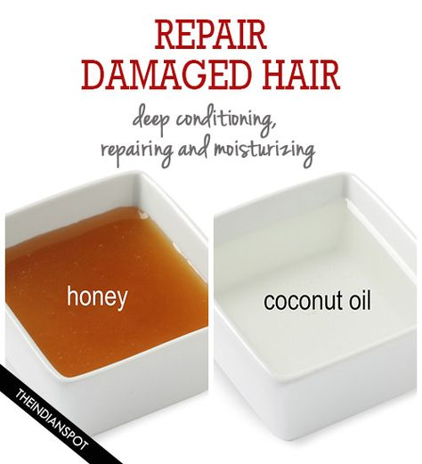 Hair repair, Coconut oil and honey hair mask for repairing and moisturizing damaged hair - two powerful ingredients for faster, thicker and longer hair growth. Guys, you gotta try this mask!