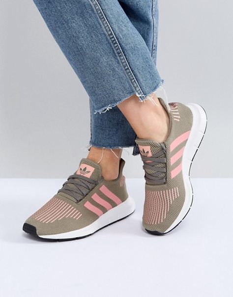 new styles fcce5 309ef Adidas   adidas Originals Swift Run Sneakers In Khaki With Pink Stripe