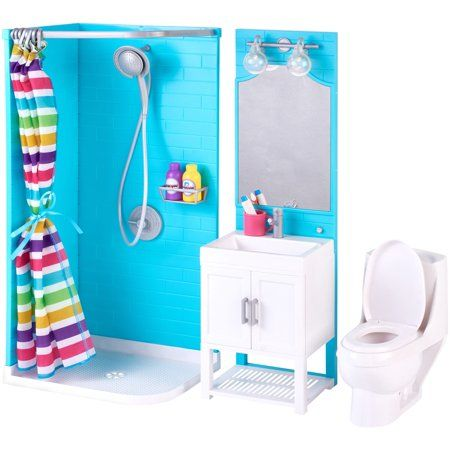 My Life As 17 Piece Bathroom Play Set With Shower And Light Up