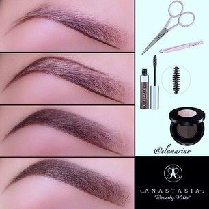 eyebrow powder. outline the brow with eyebrow powder using an angled brush. once shape is outline, she filling in again. last s\u2026 h