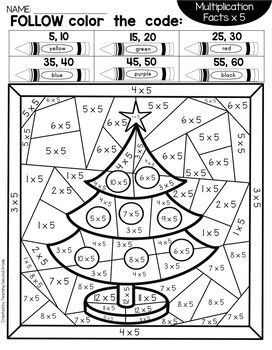 Christmas Color By Number Multiplication Multiplication Christmas Multiplication Worksheets Christmas Math Worksheets