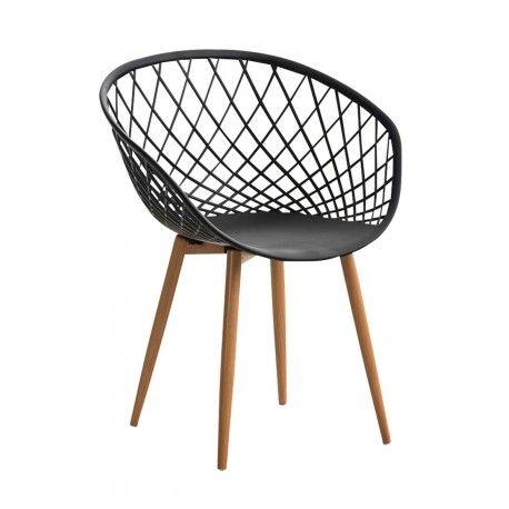 Chaise Empilable Interieure Ou Exterieure En Plastique Et Metal Noir Fal10025 Decoshop26 Chaise Empilable Fauteuil De Table Chaise Noire