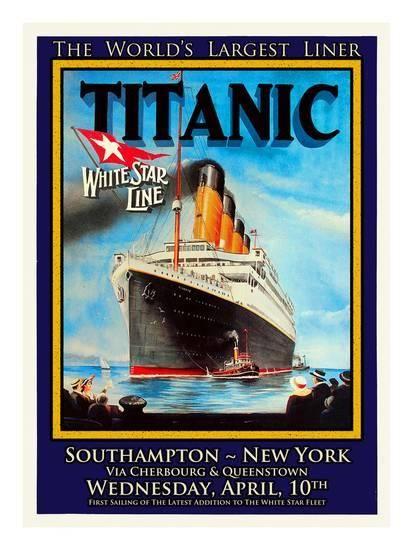 Titanic White Star Line Travel Poster 1' Giclee Print - Jack Dow ...