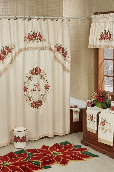 Poinsettia Palace Embroidered Holiday Shower Curtain Decoracao