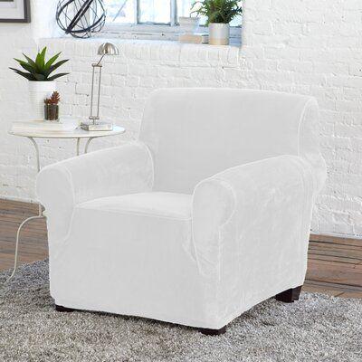 Winston Porter Velvet Plush Form Fit Stretch Box Cushion Armchair Slipcover Polyester Polyester Blend Siz In 2021 Armchair Slipcover Slipcovers For Chairs Slipcovers