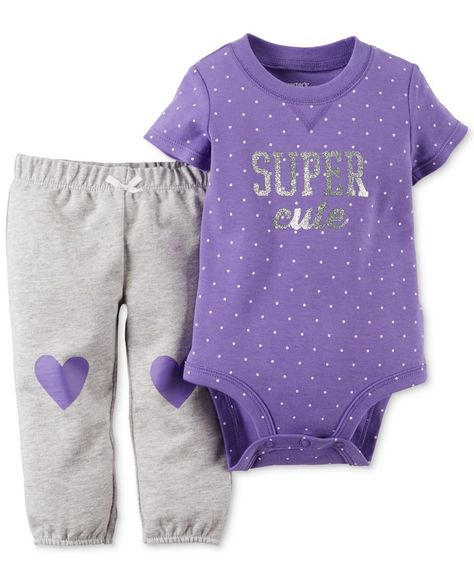Carter's Baby Girls' Super Cute Bodysuit & Pants Set Carter's Baby Girls' Super Cute Bodysuit & Pants Set - Cute Adorable Baby Outfits