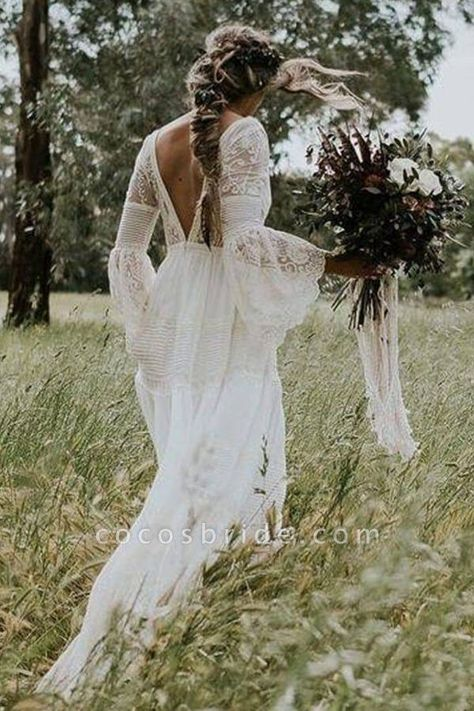 white boho dress with back out from boho & style. Check out more boho styles in this gallery! white boho dress with back out from boho & style. Check out more boho styles in this gallery! White Lace Wedding Dress, White Boho Dress, Bohemian Wedding Dresses, Long Wedding Dresses, Tulle Wedding, Cheap Wedding Dress, Dress Lace, Spring Wedding, Lace Sleeve Wedding Dress