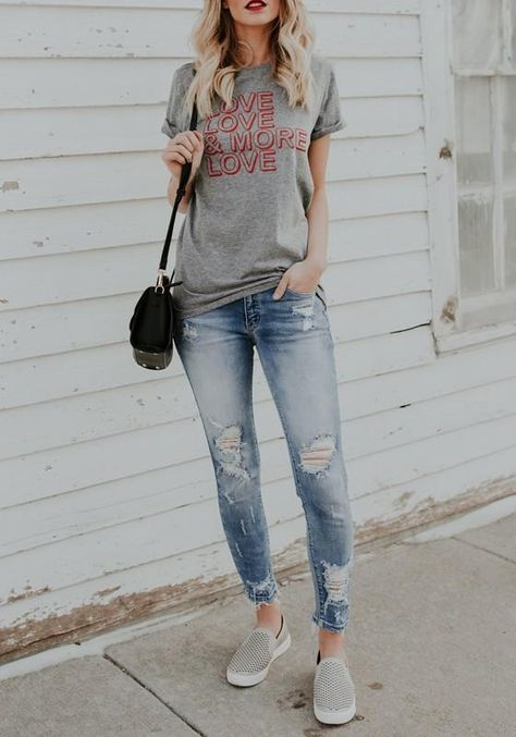 Grey Monogram Print Round Neck Valentine's Day Casual Going out T-Shirt