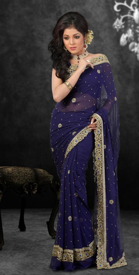 Navy Blue Faux Georgette Saree 15520 With Unstitched Blouse