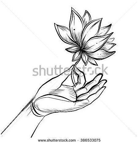 Lord Buddhas Hand Holding Lotus Flower Isolated Vector Illustration Of Mudra Hindu Motifs Tattoo Yoga Flower Drawing How To Draw Hands Lotus Flower Drawing