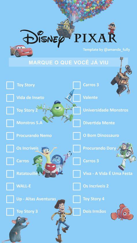 Template Filmes da Pixar