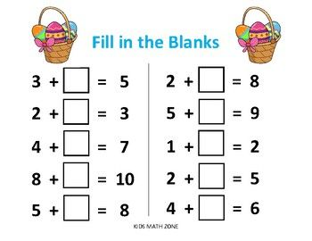 Easter Fill In The Blanks Addition D 10 Worksheets Pdfaddition Activities Fun Workshe Kids Math Worksheets Printable Math Worksheets Practice Math Problems