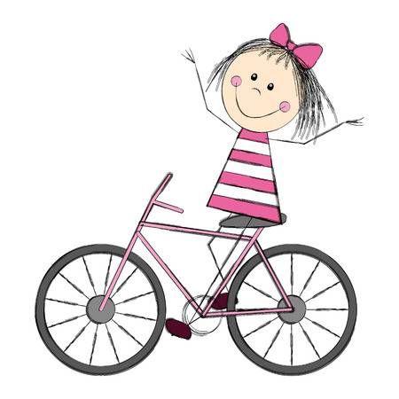 Niña Linda En Bicicleta Dibujo De Niños Jugando Como Dibujar Niños Dibujos Para Niños