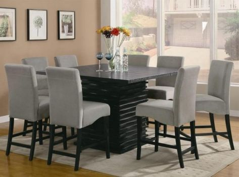 Table Square Kitchen Sets For 8 With Custom Chairs And Wall Art