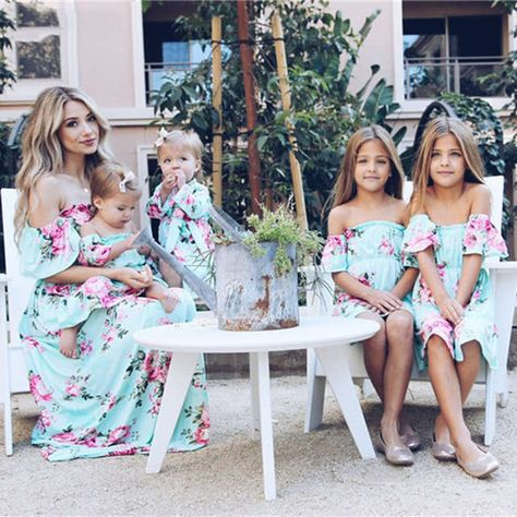 ecca5877d8ae Online Shop Mother daughter dresses 2019 Mommy and me clothes Off shoulder  Ruffles Floral Pineapple Print Mini Dress matching outfits E0162 |  Aliexpress ...